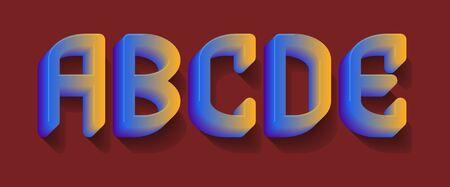 A, B, C, D, E blue orange gradient letters. 3d festive font.