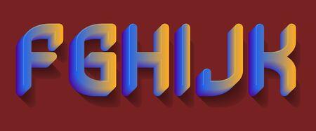 F, G, H, I, J, K blue orange gradient letters. 3d festive font.