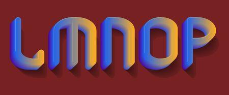 L, M, N, O, P blue orange gradient letters. 3d festive font.