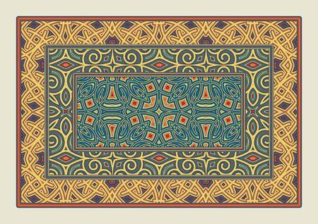 Asian traditional carpet. Colorful tribal ornament. Decorative tibetan rug.
