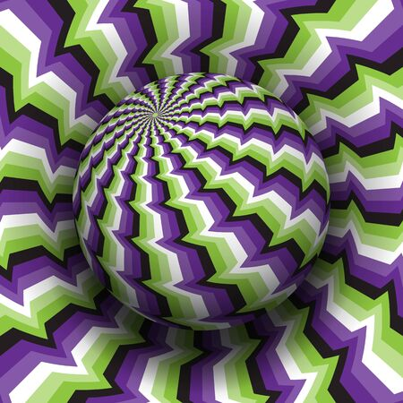 Optical illusion vector illustration. Purple green white black patterned sphere soaring above the same surface.
