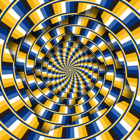 Abstract turned frames with a rotating yellow blue stripes pattern. Optical illusion hypnotic background. Illustration