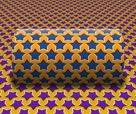 Starry cylinder is rolling along the same surface. Abstract vector optical illusion illustration.