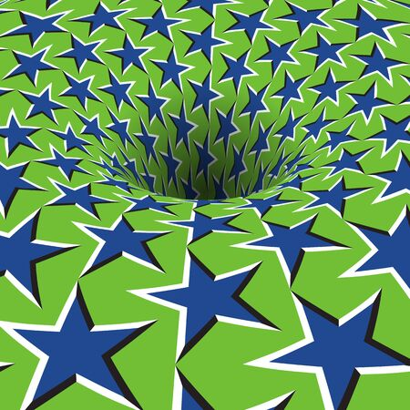 Rotating starry patterned hole. Vector optical illusion background.