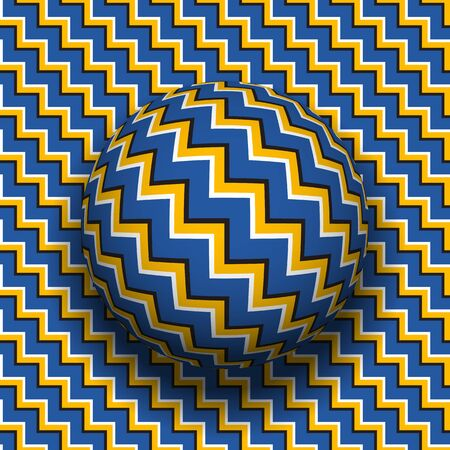 Rotating sphere of zigzag stripes pattern. Vector optical illusion background. Stock Illustratie