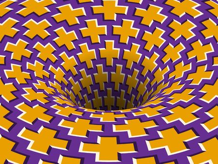 Absorbing crosses patterned hole. Vector optical illusion background.
