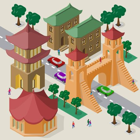 Isometric east asian cityscape of buildings, pagoda, pedestrian bridge, roadway, cars and people. Illusztráció