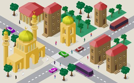 Isometric cityscape of buildings, streets, mosque, roadway, cars, buses and people.
