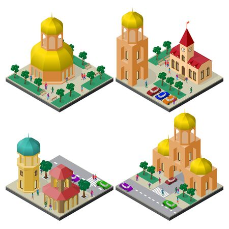 Set of isometric cityscapes with buildings and infrastructure.