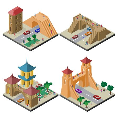 Set of isometric cityscapes with roadway and pedestrian bridge. Illustration