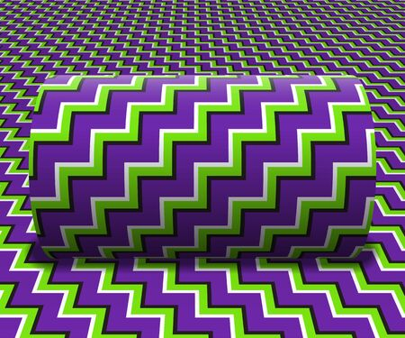 Cylinder is rolling along the inclined surface. Abstract objects with zigzag stripes pattern. Vector optical illusion illustration.