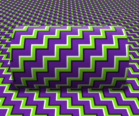 Cylinder toczy się po pochyłej powierzchni. Abstrakcyjne obiekty z zygzakowatym wzorem w paski. Ilustracja wektorowa złudzenie optyczne. Ilustracje wektorowe