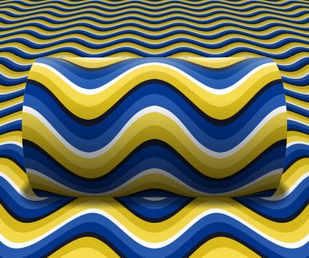 Cylinder is rolling along the inclined surface. Abstract objects with wavy stripes pattern. Vector optical illusion illustration.