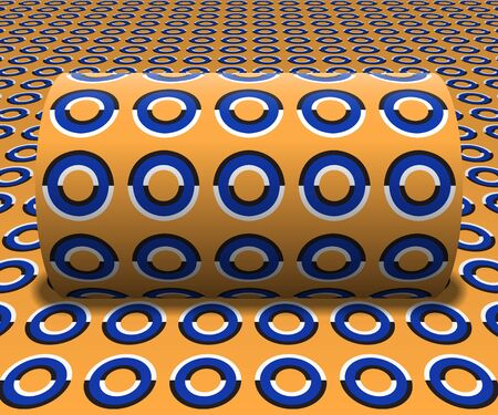 Cylinder is rolling along the inclined surface. Abstract objects with rings pattern. Vector optical illusion illustration.