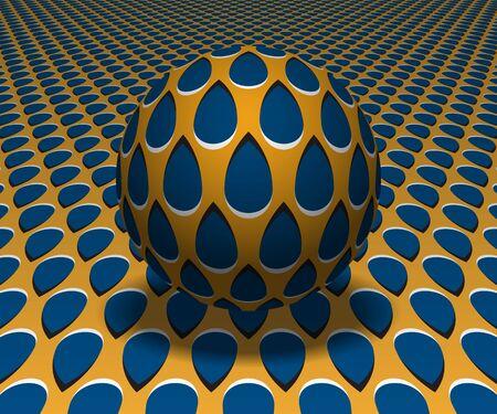 Kula unosi się nad powierzchnią. Abstrakcyjne obiekty z wzorem kropli. Ilustracja wektorowa złudzenie optyczne.