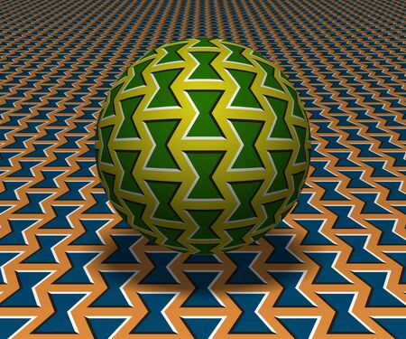 Sphere hovers above the surface. Abstract objects with bow shapes pattern. Vector optical illusion illustration. Ilustração