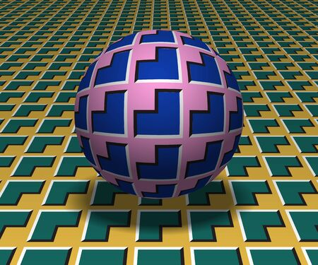 Sphere hovers above the surface. Abstract objects with corners shapes pattern. Vector optical illusion illustration.