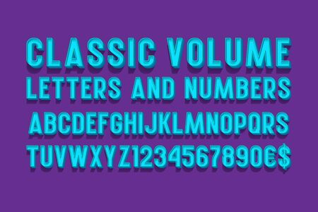 Classic volume letters and numbers with currency signs. 3d retro font. Isolated english alphabet.