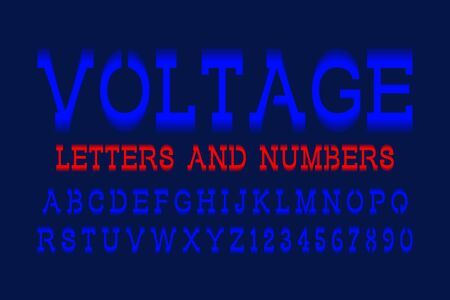 Voltage letters and numbers. Blue electric vibrant font. Isolated english alphabet.