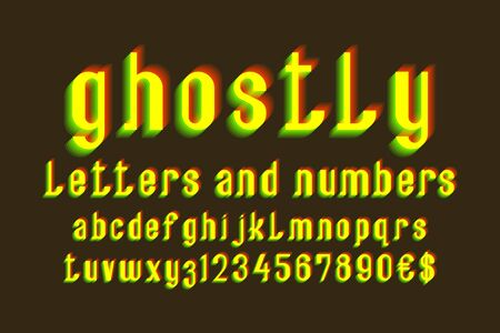 Ghostly letters and numbers with currency signs. Yellow vibrating font. Isolated english alphabet.