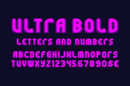 Ultra bold letters and numbers with currency signs. Pink vibrant font. Isolated english alphabet. Illustration