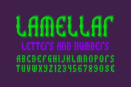 Lamellar letters and numbers with currency signs. Bright green vibrant font. Isolated english alphabet.