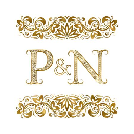P and N vintage initials logo symbol. The letters are surrounded by ornamental elements. Wedding or business partners monogram in royal style.