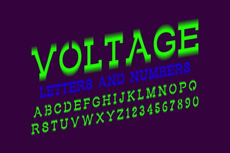 Voltage letters and numbers. Green electric vibrant font. Isolated english alphabet. Illustration