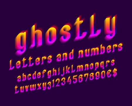 Ghostly letters with numbers and currency signs. Vibrant gradient font. Isolated english alphabet.