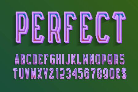 Perfect decorative letters and numbers with currency signs. 3d colored font. Isolated english alphabet.
