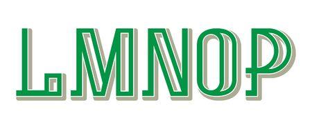 L, M, N, O, P green gray letters. Urban artistic font. 矢量图片