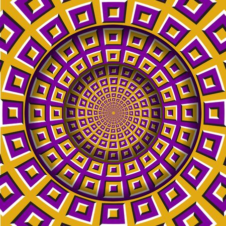 Abstract round frame with a moving yellow purple squares pattern. Optical illusion hypnotic background.