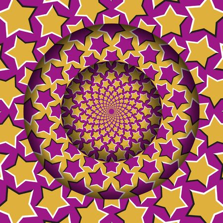 Abstract round frame with a moving yellow pink starry pattern. Optical illusion hypnotic background. Vector Illustratie