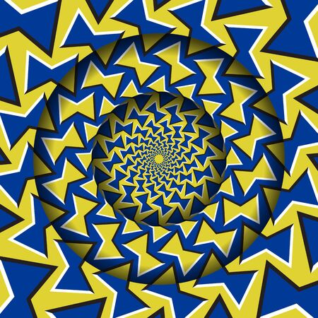 Abstract round frame with a moving blue yellow bow shapes pattern. Optical illusion hypnotic background. Vettoriali