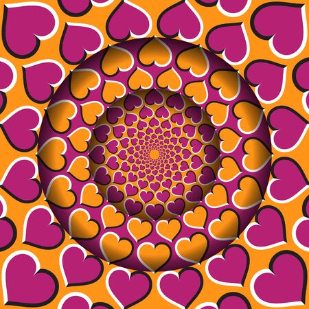 Abstract round frame with a moving orange pink hearts pattern. Optical illusion hypnotic background.