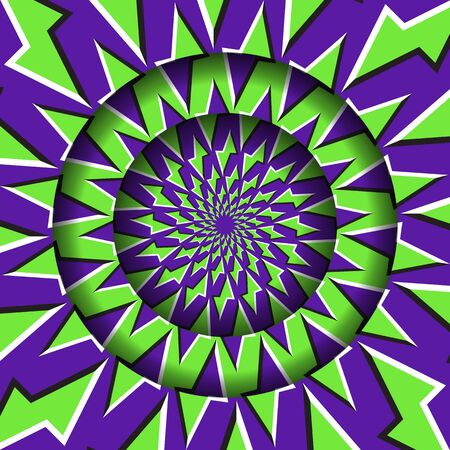 Abstract round frame with a moving green purple polygons pattern. Optical illusion hypnotic background.