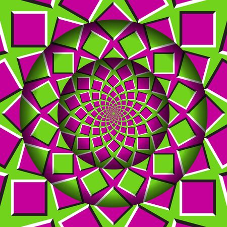 Abstract round frame with a moving pink green squares pattern. Optical illusion hypnotic background. Stock Illustratie