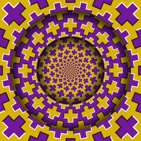 Abstract round frame with a moving yellow purple crosses pattern. Optical illusion hypnotic background.