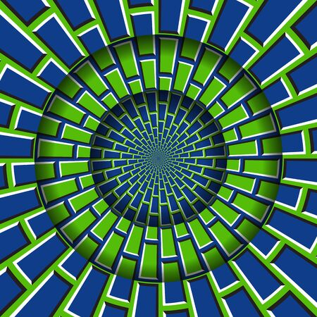 Abstract round frame with a moving blue green brickwork pattern. Optical illusion hypnotic background.