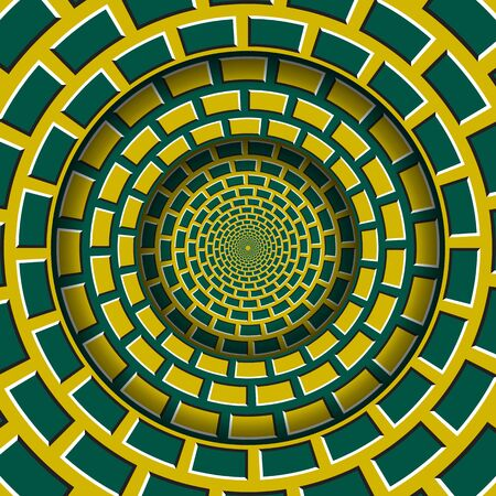 Abstract round frame with a moving yellow green brickwork pattern. Optical illusion hypnotic background.