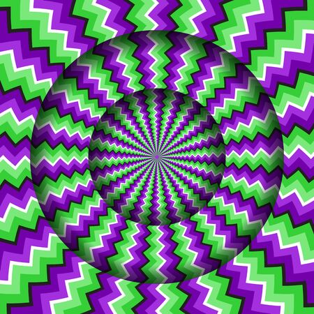 Abstract round frame with a rotating green purple zigzag pattern. Optical illusion hypnotic background.