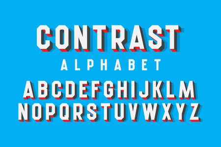 Contrast alphabet of volumetric letters. 3d retro font.
