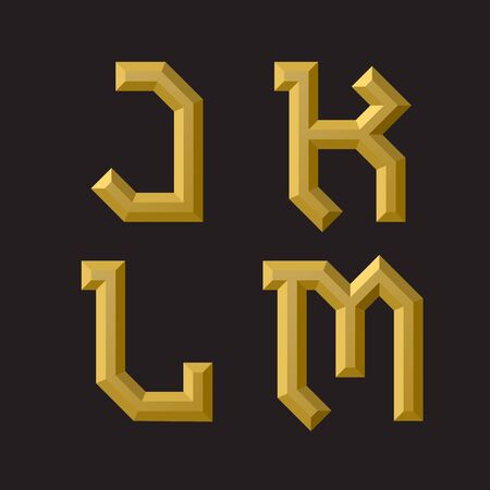 J, K, L, M golden faceted font. Isolated artistic unusual font.
