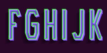 F, G, H, I, J, K purple green luminous letters. 3d urban font.