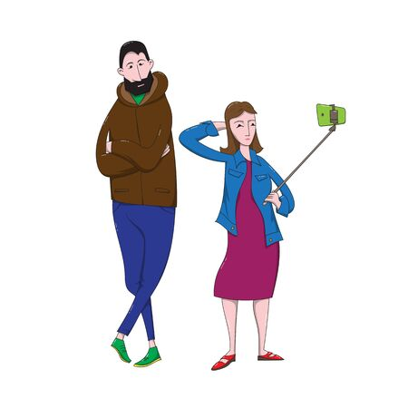 Cartoon girl makes selfie with tall bearded guy. Illustration