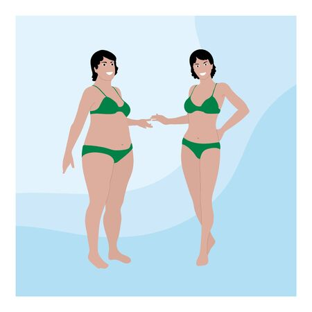 Two women of different sizes in swimsuits. Before and after Losing Weight concept. Cartoon people illustration. Illusztráció