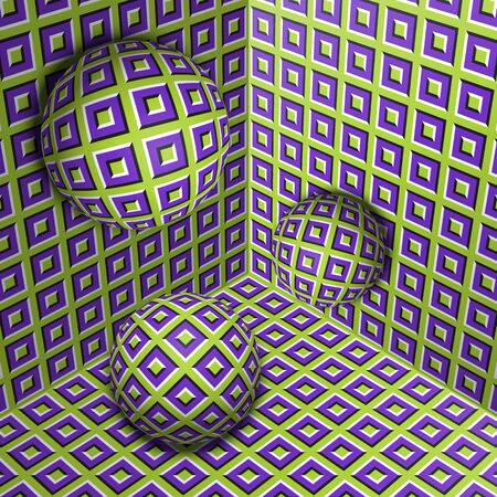Three spheres move in corner. Optical illusion abstraction of checkered pattern.