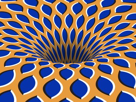 Rotating hole of moving blue orange ornament. Vector optical illusion background.