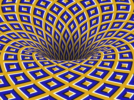 Rotating hole of moving blue yellow squares ornament. Vector optical illusion background. Stock Illustratie