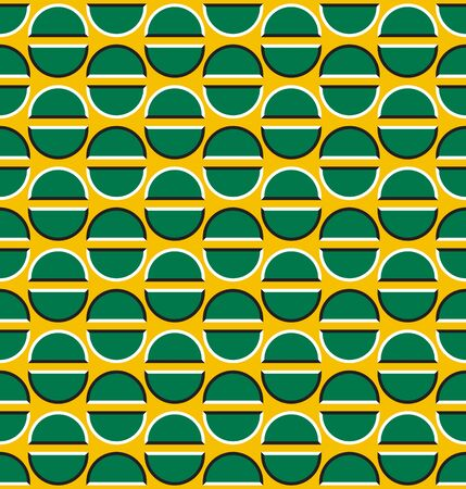 Optical illusion seamless pattern of moving green semicircles on yellow.